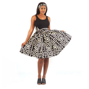 African Mudcloth Print Short Skirt with Matching Scarf