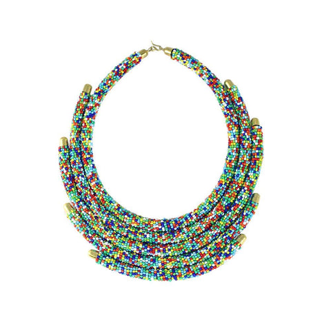 Multi Row Maasai Beaded Choker Necklace
