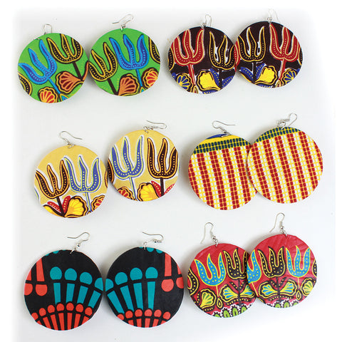 Set of 6 Hand-crafted Disc Kitenge Earrings