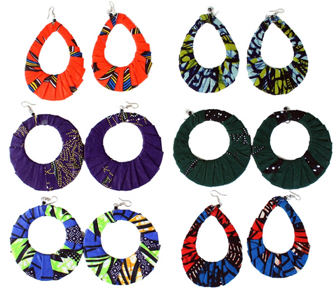 Set of 6 Hand-crafted Kitenge Earrings