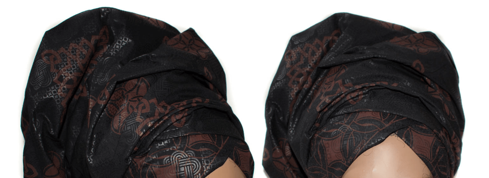 African Print Headwrap - Black Chocolate Abstract Print