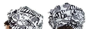 African Print Headwrap - Black-White Abstract