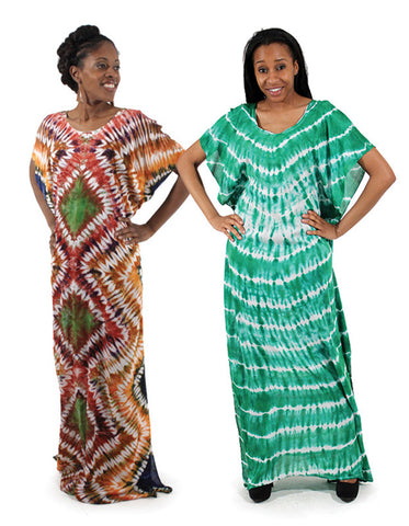 Tie Dyed Maxi Kaftan Dress
