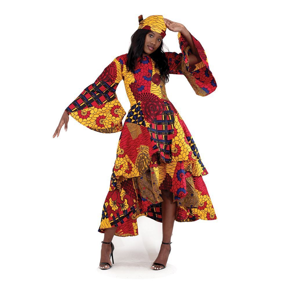 African Print High-Low Wrap Dress