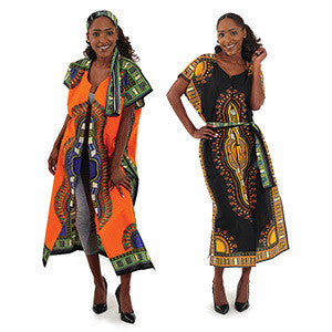 Ladies Traditional Print Open Kaftan Dashiki Duster