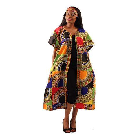 Ladies Traditional Patchwork Open Kaftan Dashiki Duster