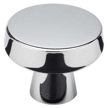 Image Of Cabinet Knob -  Contemporary Round -  1 5/16 In. Diameter - Chrome Finish - Harney Hardware