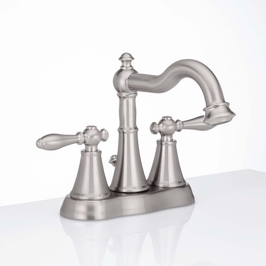 Image Of Center Set Transitional Bathroom Sink Faucet -  4 In. Wide -  Alexandria - Satin Nickel Finish - Harney Hardware