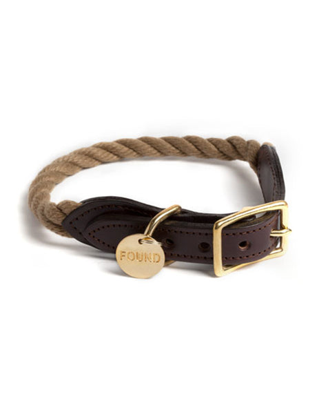 Natural Rope & Leather Dog and Cat Collar