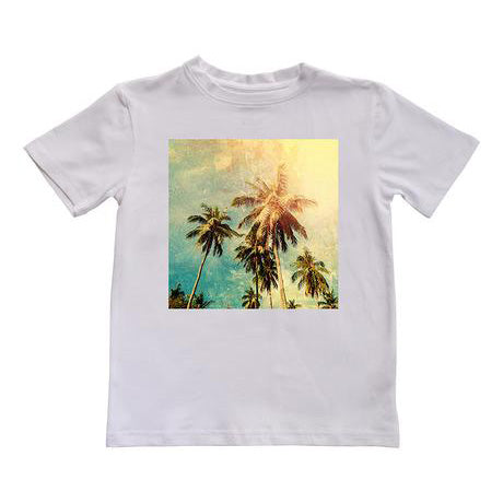 tshirt summer palmier beach plage ete white blanc kids fashion