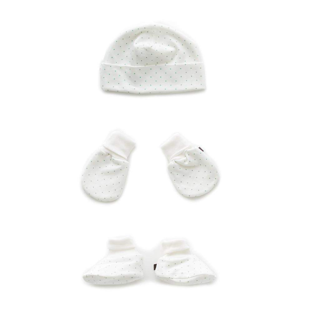 oeuf-ss18-accessories-greendots ensemble pois verts chapeau chaussons mitaines gift set baby newborn Oeuf pima cotton organique