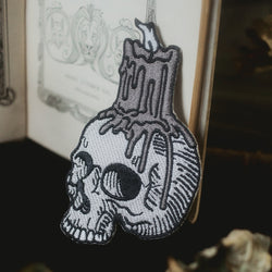 Skull with Candle Embroidered Patch