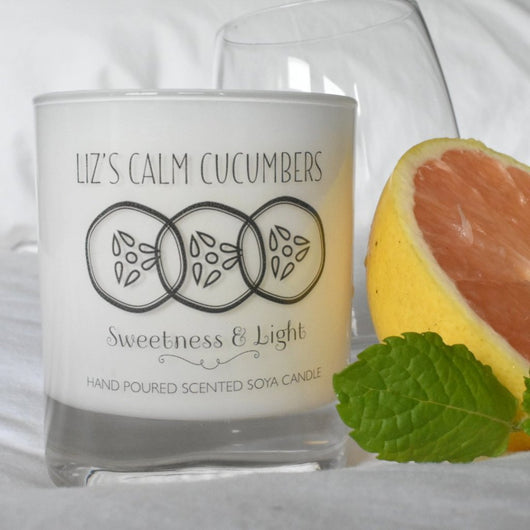 Luxe White Glass 'Calm Cucumbers' Scented Candle - Can Be Personalised