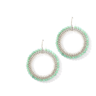 CAMEO EARRINGS - JEWELRY BY KIRSTEN GOSS. Circular double weave with silver extruded by hand, chrysoprase & lemon citrine. Beautiful handmade earrings in Sterling Silver