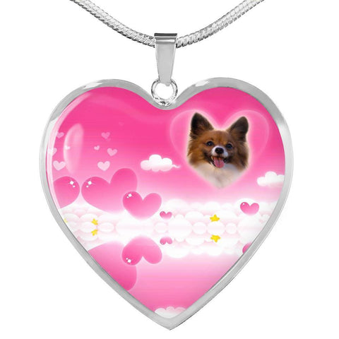 Papillon Dog Print Heart Pendant Luxury Necklace-Free Shipping