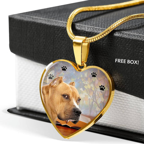 Staffordshire Bull Terrier Print Heart Pendant Luxury Necklace-Free Shipping