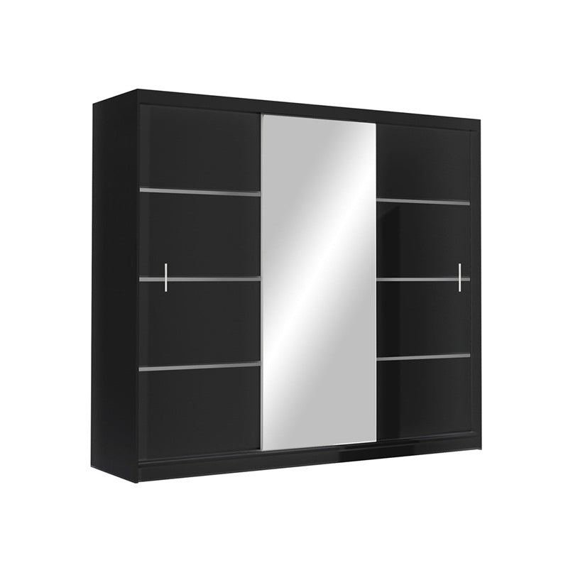 VISTA Wardrobe 250cm Black/Mirror