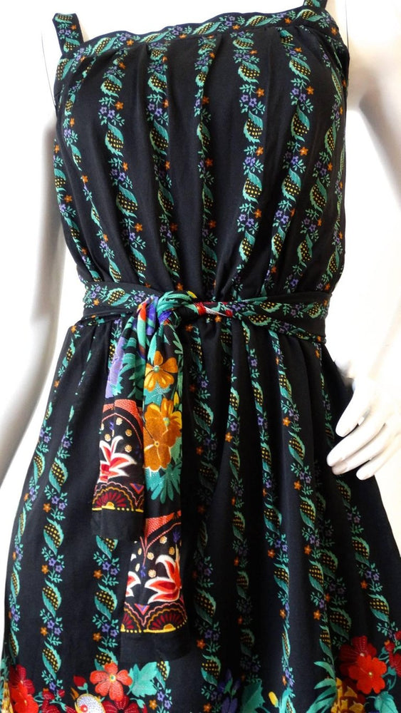 1970s Gottex Black Floral Printed Dress