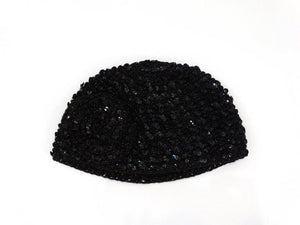 1970s Saks Fifth Avenue Black Sequin Flower Skullcap