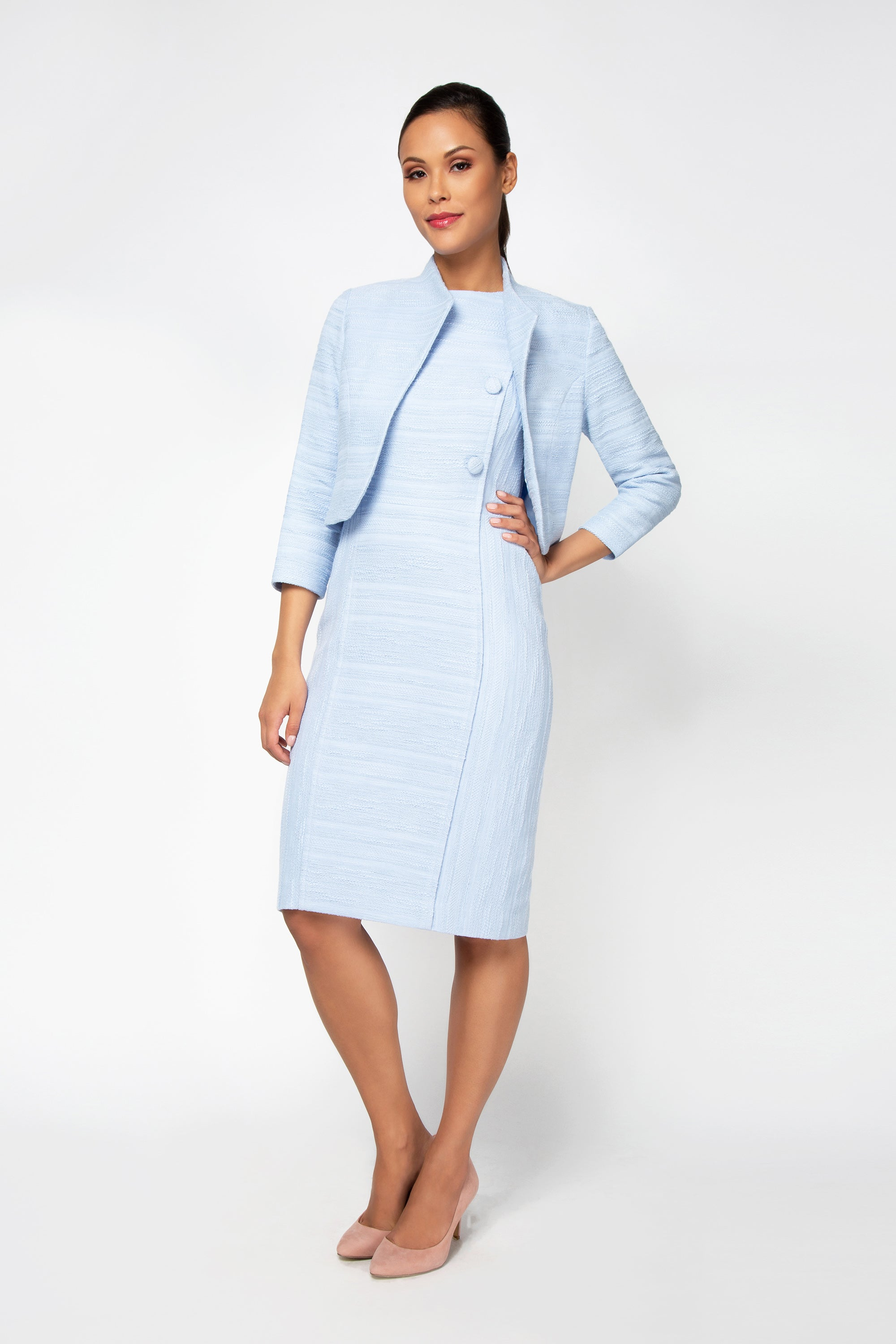 Mila Boucle Jacket - Ice Blue