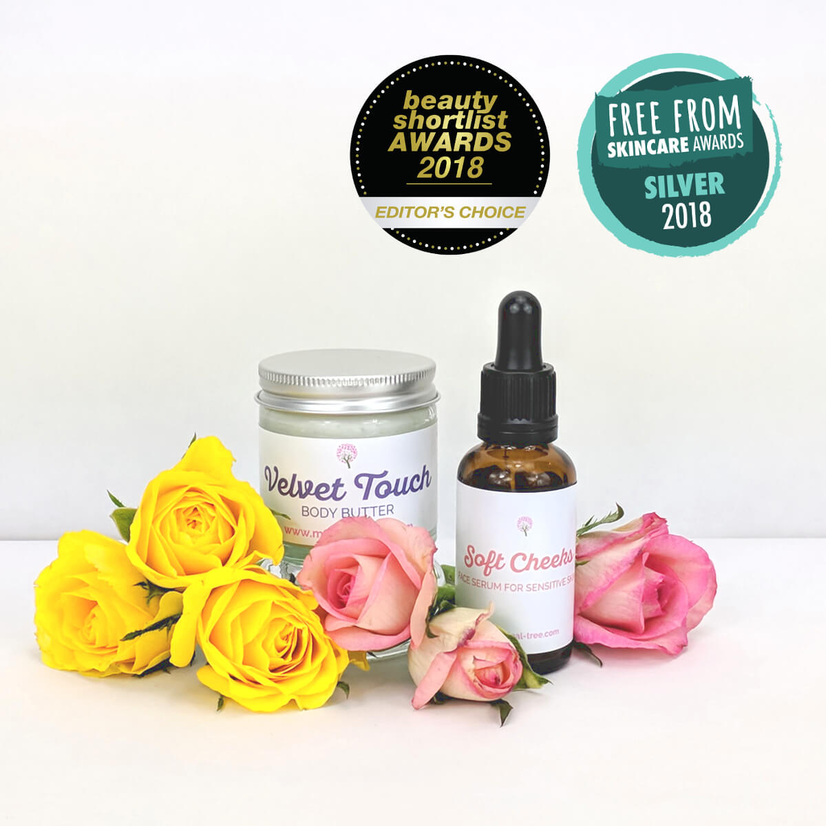 Soft Cheeks Face Serum and Velvet Touch Body Butter with rose and yellow roses