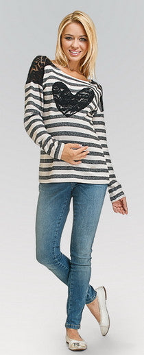 Striped Heart Maternity Top