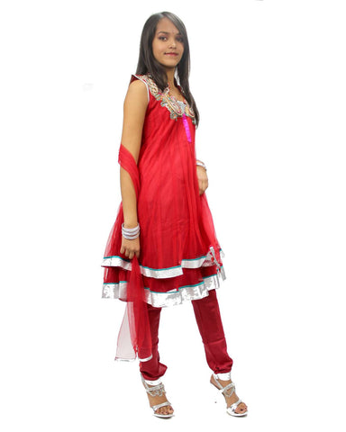 Robe Indienne Fille Malathi - Rouge - 7 & 10 ans