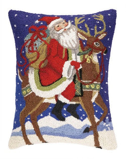 Santa and Reindeer Hooked Pillow