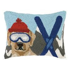 Lab Skier Hook Christmas Pillow