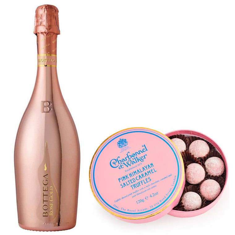 Bottega Rose Gold Prosecco 75cl with Pink Himalayan Salted Caramel Truffles