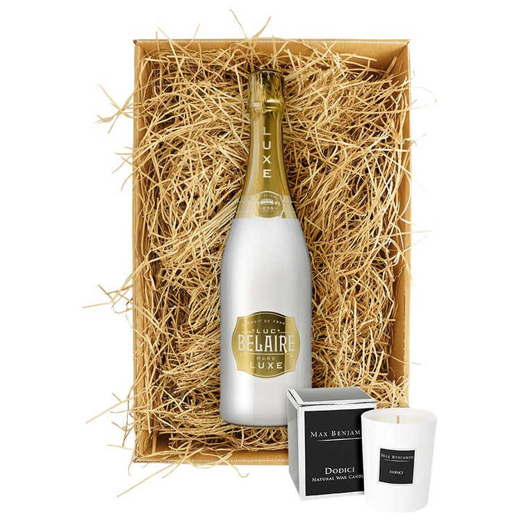 Luc Belaire Luxe Sparkling Wine 75cl. Gift Set with Max Benjamin's Dodici Luxury Candle