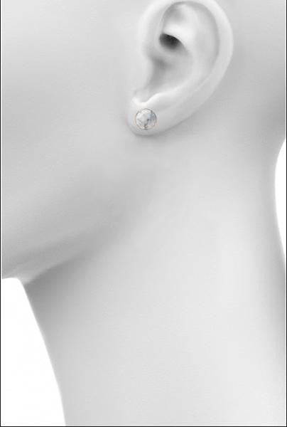 Howlite round stud earrings by Love Tatum