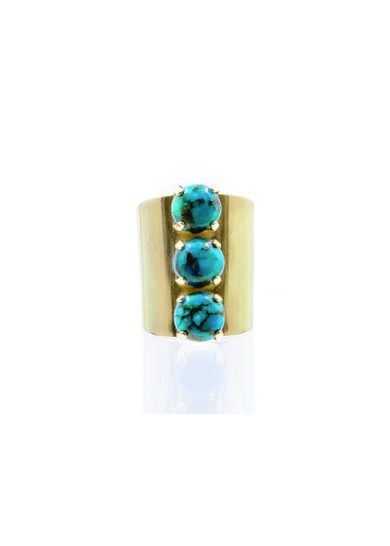 turquoise 3 stone cocktail ring by Erin Fader