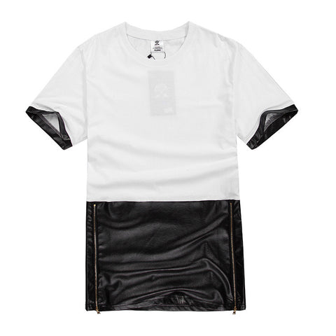 Men Long line Patchwork Hip-Hop Tee
