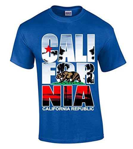 Fashion t-shirts icustomworld California Republic Palm Tree T-shirt Cali Bear Flag Shirts man t-shirt