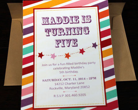 Colorful, Striped Invitation