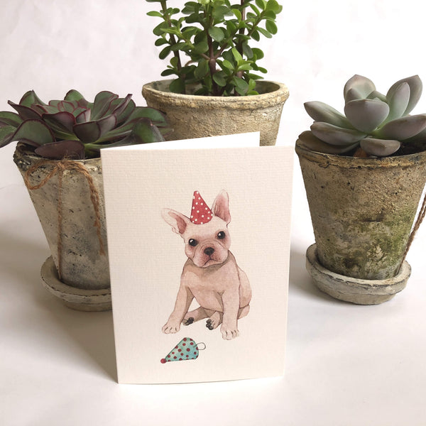 Frenchie Party Pup Card