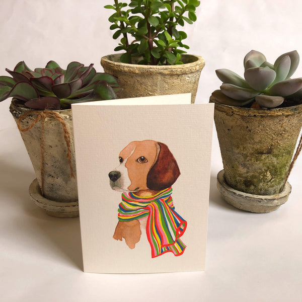 Beagle in A Scarf Card