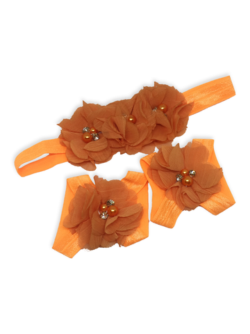 Stella and Chan - Baby Flower Band Set, Orange