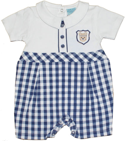 "Just Too Cute Boys Romper ""Navy Check Fabric"""