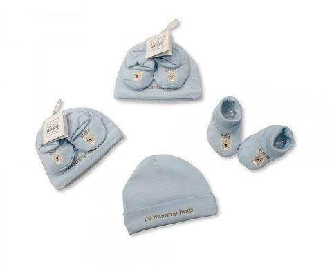 Baby Hat and Booties Set - Hugs - Boys by Nursery Time