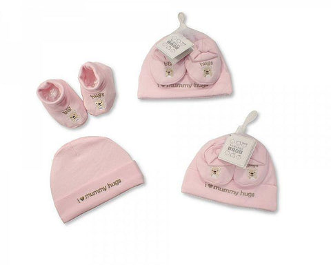 Baby Hat and Booties Set - Hugs - Girls by Nursery Time