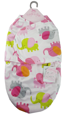 Baby Swaddle Bag (0-3 Months) by Rock Bye Baby - Pink Elephant
