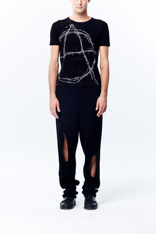 Anarchy is Order- Knitted Jacquard Short Sleeve Top