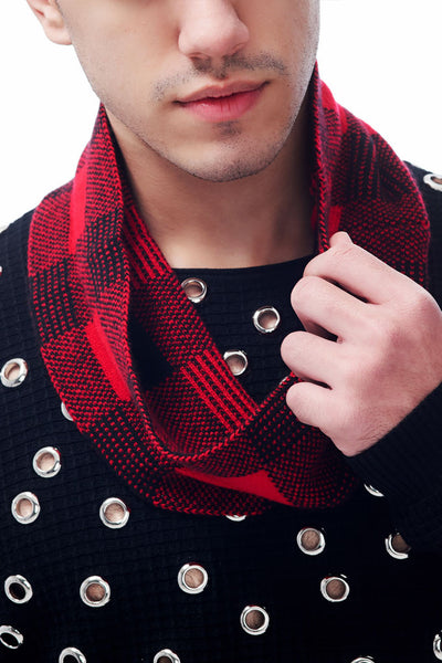 Jubilee Collection British Plaid Knitted Jacquard Pure Cashmere Snood