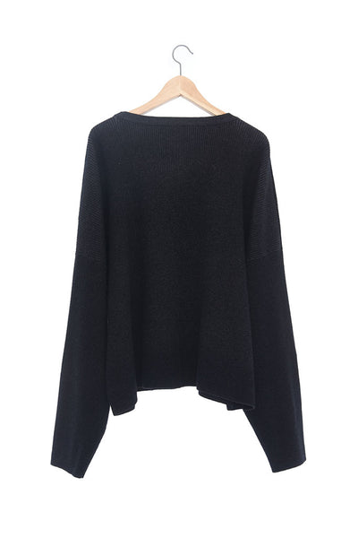 Andy Collection- Over-sized Front Knitted Jacquard Round Neck Top
