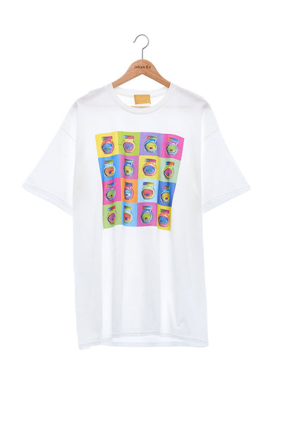 Andy Collection- Pop Art Muilti Squared Marmite Graphic T-Shirt - White