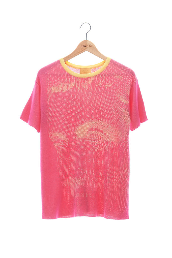 Elioliver Collection- Fade Out Sculpture Knitted Jacquard Top - Fuchsia