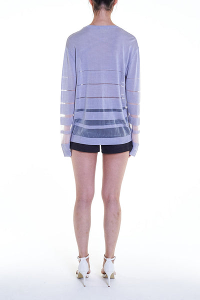 Elioliver Collection- See-Through Stripe Knitted Top - Gray