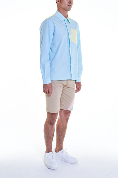 Elioliver Collection- Contrast Colour Details Over-Sized Shirt - Blue/Yellow